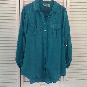 Chico's turquoise linen tunic